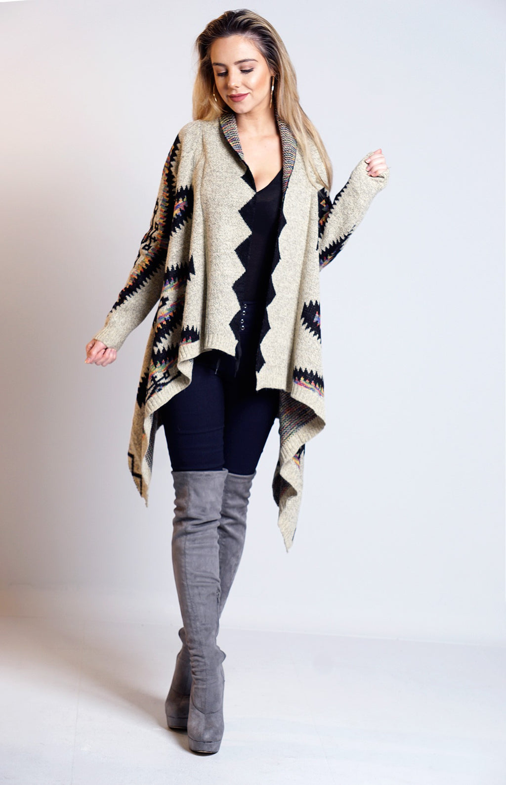 Sandra Beige Knitted Aztec Waterfall Cardigan