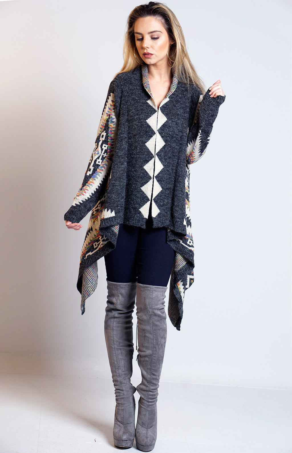 Sandra Dark Grey Knitted Aztec Waterfall Cardigan