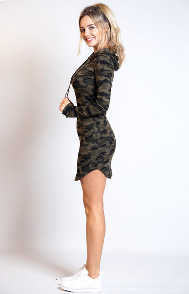 Annie Camouflage Curved Hem Hooded Dress, Dresses - First Impression UK