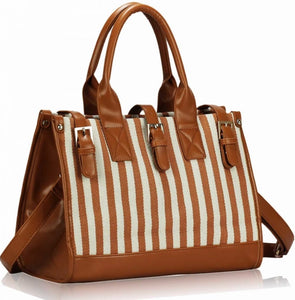 Brown Satchel With Buckle Closure, Handbags - First Impression UK
