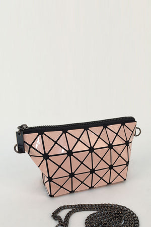 Pink Glossy Triangular-Split Panels Clutch or Cosmetic Bag