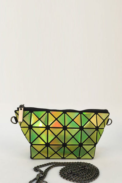 Yellow Glossy Triangular-Split Panels Clutch or Cosmetic Bag - First Impression UK