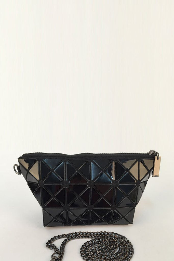 Black Glossy Triangular-Split Panels Clutch or Cosmetic Bag, Cosmetic Bags - First Impression UK