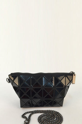 Black Glossy Triangular-Split Panels Clutch or Cosmetic Bag - First Impression UK