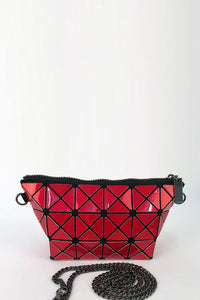 Red Glossy Triangular-Split Panels Clutch or Cosmetic Bag