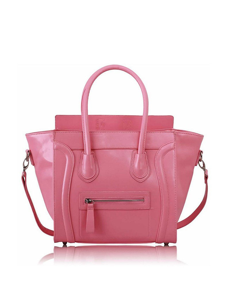 Pink Tote Handbag With Long Strap