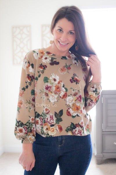 Anna Floral Bouquet on Tan, Lightly Brushed Sweater Knit. PRSW-115