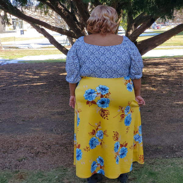 Rae Blue Florals on Yellow. Scuba Knit. SCU-109-YLW