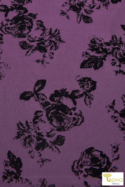 """Daphne"" Florals on Purple. Velvet Flocked Scuba Knit. SCU-111-PURP"