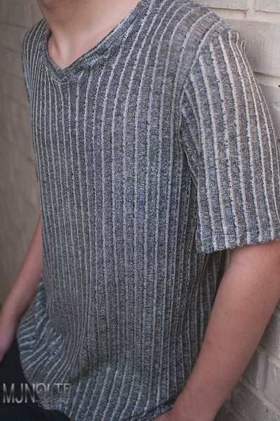 "Dark Gray Smoke  3/8"" Ribbed Knit.  RIB-006"