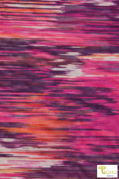 Printed Flowers on Navy. 15 Wales Corduroy.  Stretch Woven Fabric. CRD-103