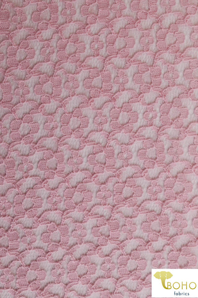 Circle Daisies in Spring Pink. Cotton Lace Woven Fabric. WV-148
