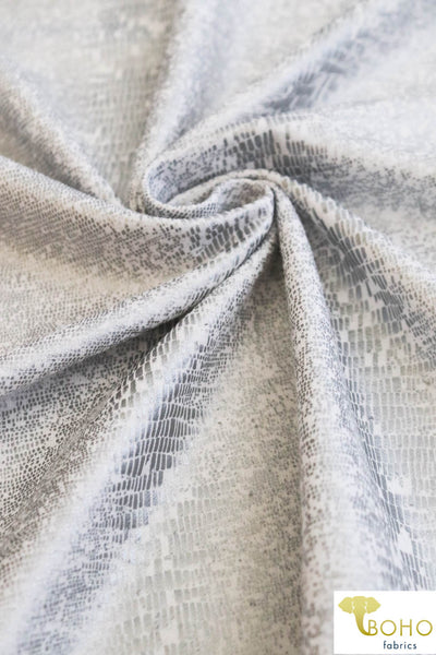 Metallic Silver Snake on White. Foiled French Terry Knit Print. *HAND WASH ONLY. FT-135.