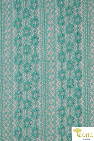 Flower Kiss Crochet Stripes in Jeweled Aqua. Stretch Lace Knit. SL-106-AQA