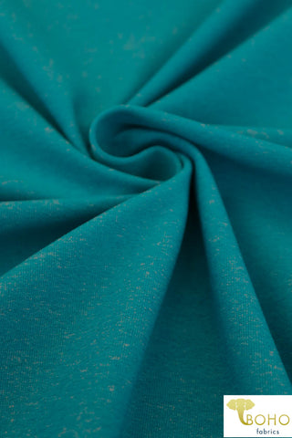 Brushed Nylon Spandex in Heathered Caribbean Blue. Heavy Weight. Use for Activewear and Yoga! ATH-103-BLUE