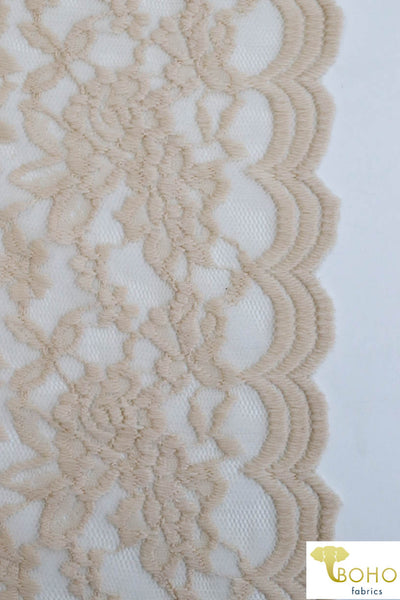 Double Scallop Florals in Nude. Stretch Lace Knit. SL-119-NDE