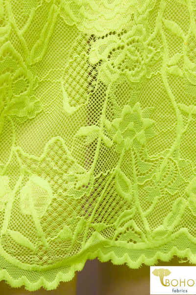 Neon Yellow Carnations. Double Scallop Stretch Lace. SL-101.