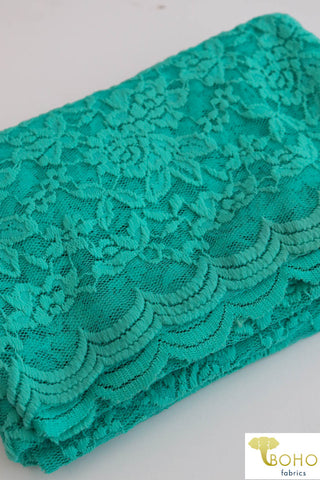 Double Scallop Florals in Aqua. Stretch Lace Knit. SL-119-AQA