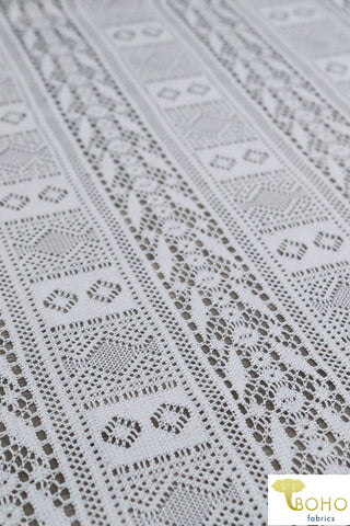 Crochet Geometric Stripes in White. Lace Woven Fabric. WV-149
