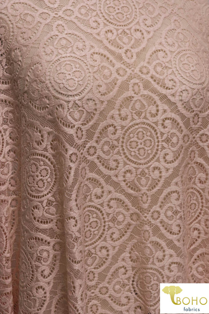 Kashmir Diamonds in Blush Pink. Stretch Lace. SL-104.