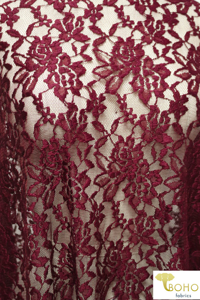 Red Wine Florals. Stretch Lace. SL-103.