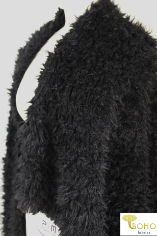 Black Shaggy Faux Fur. FUR-102-BLK