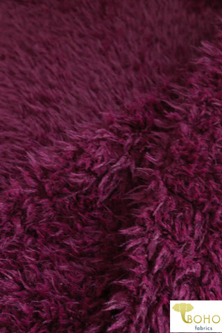 Last Cuts!  Burgundy Shaggy Faux Fur. FUR-102-RED
