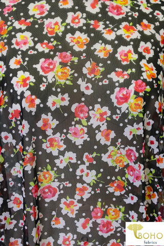 Vibrant Florals & White Polka Dots on Black. Stretch Mesh. SM-106.