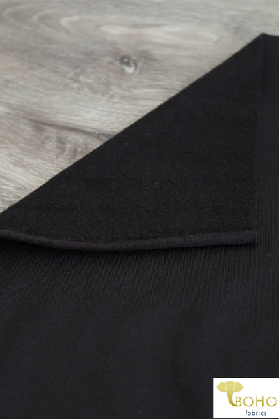 Athletic Fleece-Backed Knit in BLACK. Use for Activewear and Yoga! ATH-106