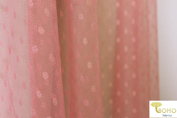 Peach Pink Oval Swiss Dot. Stretch Mesh. SM-105.