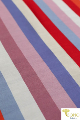 """Salt Water Taffy"" Stripes in Cool Colorway. Silk Chiffon Woven. WV-130-COOL"