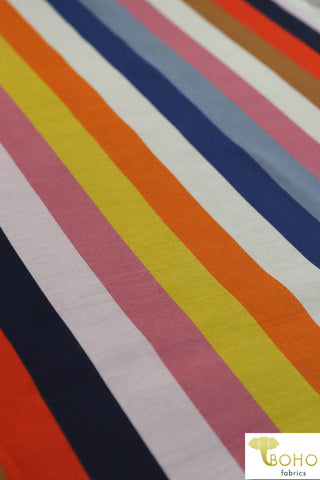 """Salt Water Taffy"" Stripes in Warm Colorway. Silk Chiffon Woven. WV-130-WARM"