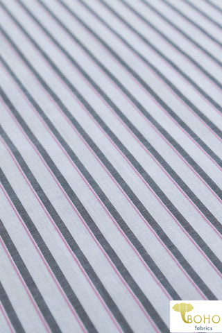 Gray & Lilac Stripes on White. Cotton Woven Fabric. WV-129
