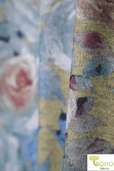 Morning Roses on Golden Yellow.  Blue and Pink Florals Printed Sweater Knit.  Lust Collection.