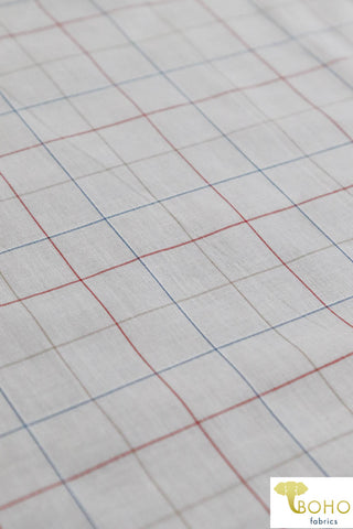 Multi Color Grid on White. Cotton Woven Fabric. WV-132