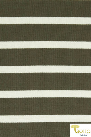 Ivory Stripes on Army Green. Rayon Spandex Knit. R-119