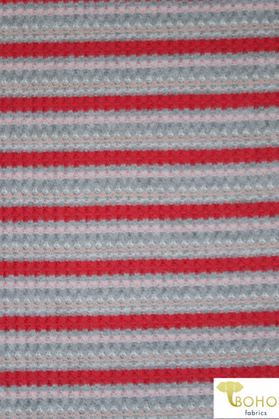 Coral, Peach, White Stripes on Gray. Brushed Waffle Knit Fabric. BWAF-113.
