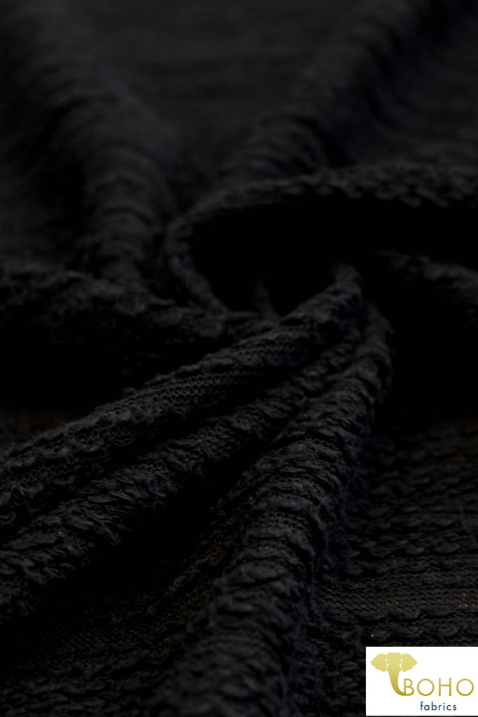 "Black ""Boucle Style"". High Texture/Large Loop French Terry Knit. FT-126."