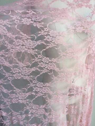 Petite Floral Stretch Lace Knit Fabric in Pink.  Designer End Bolt