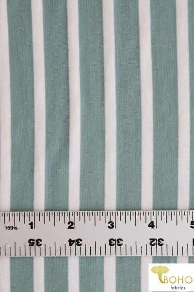 Seaside Stripes in White on Blue/Green. Rayon Spandex Knit. R-115