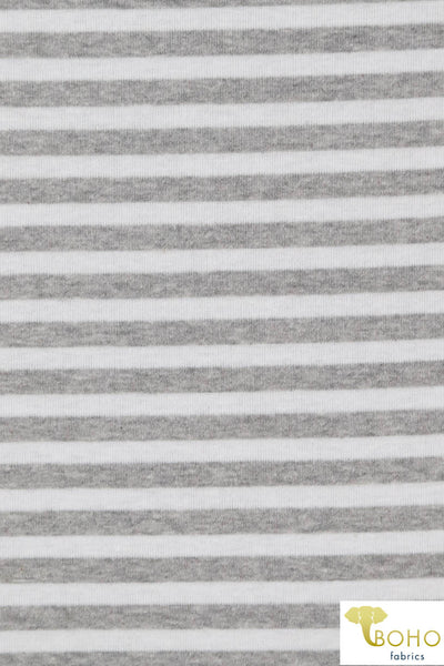 Light Heather Gray Stripes on White. Baby Rib Knit. RIB-110