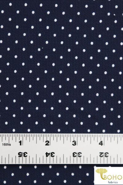 White Polka Dots on Navy. Poly Bubble Crepe Woven Fabric. WV-139