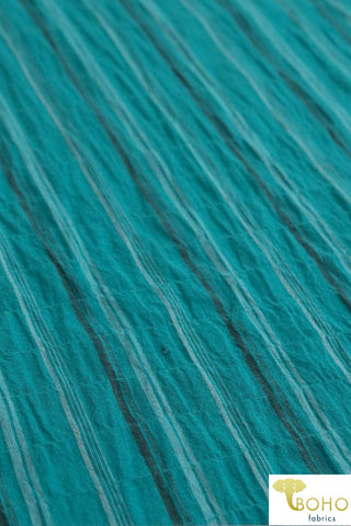 Mystique Stripes. White & Brown Stripes on Teal Cotton Woven Fabric. WV-137