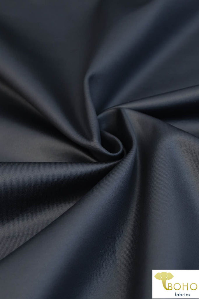 Dark Navy. Shiny Coated Athletic/Scuba Knit Fabric. ATH-108-BLU