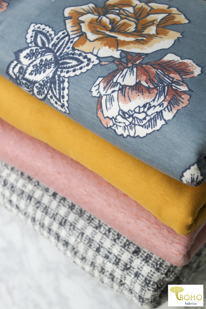 Pixelated Chevron on Plum Burgundy.  Plush Brushed Sweater Knit. SWTR-124-PLUM.