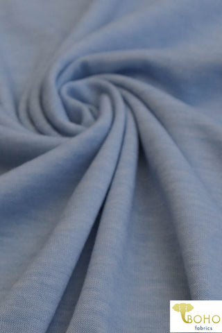 Heather Sky Blue. Soft Spun Poly Jersey Spandex Knit. JER-114.