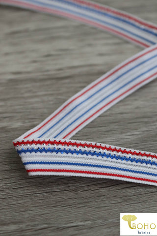 "Americana Sparkle, 5/8"" Dual Sided Metallic Fold Over Elastic. FO-005."
