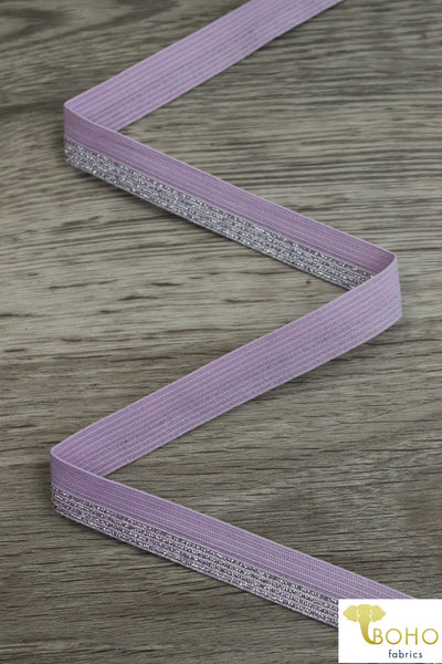 "Metallic Silver on Lavender, 5/8"" Fold Over Elastic. FO-006."