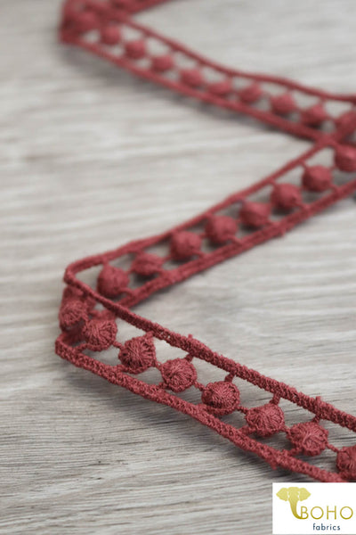 "Infinite Circles in Rust, 5/8"" Woven Trim. WT-018."