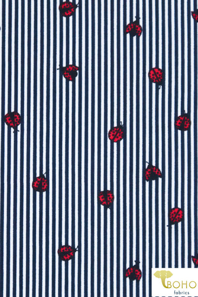 Ladybug Stripes in Navy on White. Double Brushed Poly Knit Fabric. BP-134-NVY